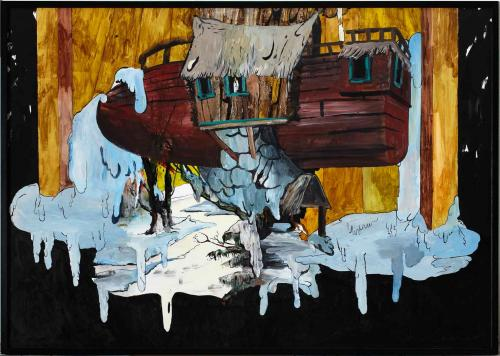 Ink-and-acrylic-on-paper.2007.  Is-skib  .150x100cm